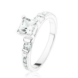 Zásnubný prsteň zo striebra 925, štvorcové číre zirkóniky, číra zirkónová línia - Veľkosť: 56 mm