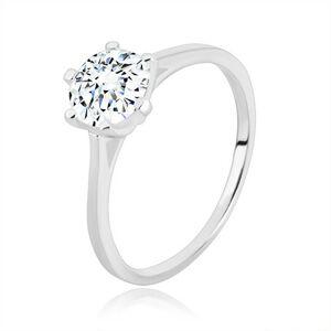 Zásnubný prsteň zo striebra 925 - úzke ramená, trojuholníky a zirkón, 7 mm - Veľkosť: 52 mm