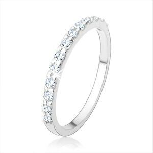 Zásnubný strieborný prsteň 925, trblietavá línia zo zirkónikov čírej farby - Veľkosť: 50 mm