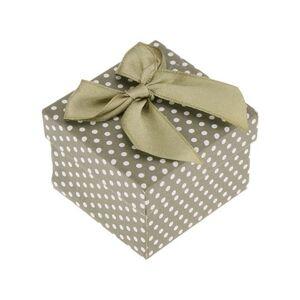 Zelená krabička na šperk, biele bodky, lesklá zelená mašľa