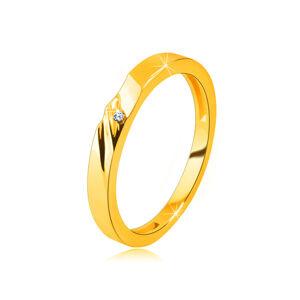 Zlatá obrúčka v 14K zlate - prsteň s jemnými zárezmi, malý zirkónik - Veľkosť: 49 mm