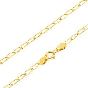 Zlatá retiazka 585 - ligotavé podlhovasté očká s ryhovaním, 500 mm