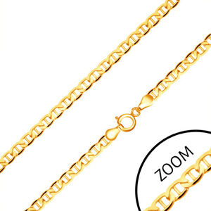 Zlatá retiazka 585 - ploché elipsovité očká, palička uprostred, 550 mm
