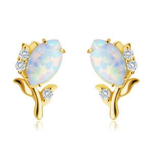 Zlaté 14K náušnice - kvet s bielym syntetickým opálom, drobné okrúhle zirkóniky, puzetky