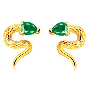 Zlaté 375 náušnice - zatočený hadík so zirkónovou hlavičkou zelenej farby, puzetky