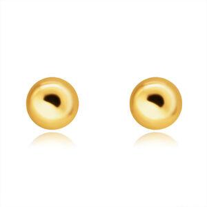 Zlaté 9K náušnice - hladká zrkadlovolesklá polgulička, puzetky