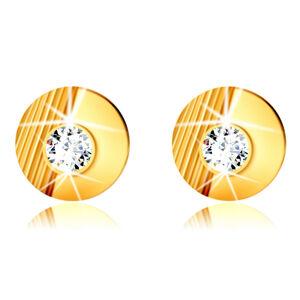 Zlaté 9K náušnice - krúžok so zárezmi, hladký polkruh, vsadený okrúhly zirkón, puzetky