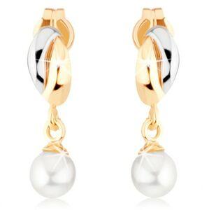 Zlaté náušnice 375 - dvojfarebné oblúčiky, biela guľatá perlička