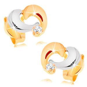 Zlaté náušnice 585 - dvojfarebná kontúra asymetrického srdiečka