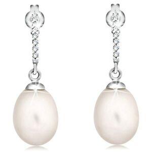 Zlaté náušnice 585 - zirkónový oblúk a visiaca oválna perla bielej farby