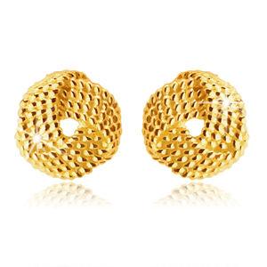 Zlaté náušnice v 14K zlate - pletenec z troch širokých pruhov, guličkový vzor