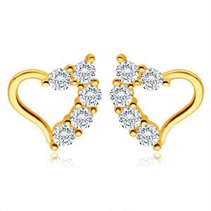 Zlaté náušnice zo 14K žltého zlata - nepravidelná kontúra srdca, číre zirkóniky