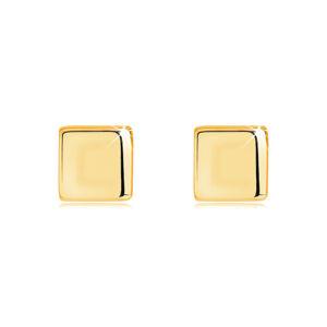 Zlaté náušnice zo 14K žltého zlata - pravidelný štvorec, zrkadlovolesklý povrch