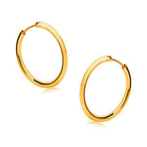 Zlaté okrúhle náušnice v 14K zlate - tenké zaoblené ramená, lesklý povrch, 16 mm