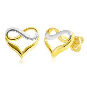 Zlaté puzetové náušnice 585 - dvojfarebné srdce so symbolom nekonečna