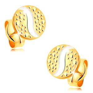 Zlaté puzetové náušnice 585 - malý kruh s vlnkou z bieleho zlata a bodkami