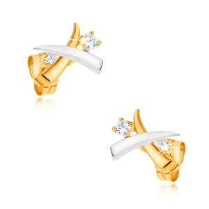 Zlaté ródiované náušnice 375 - prekrížené dvojfarebné kly, zirkóny