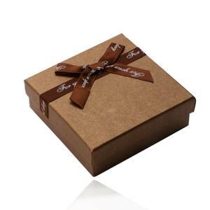 Zlatohnedá darčeková krabička na náhrdelník, náušnice, prívesok, mašľa s nápisom