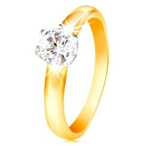 Zlatý 14K dvojfarebný prsteň - číry zirkón v šesťcípom kotlíku, vypuklé ramená - Veľkosť: 51 mm