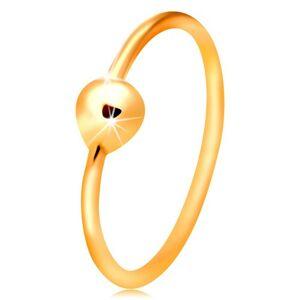 Zlatý 14K piercing do nosa, lesklý krúžok s drobnou guľôčkou