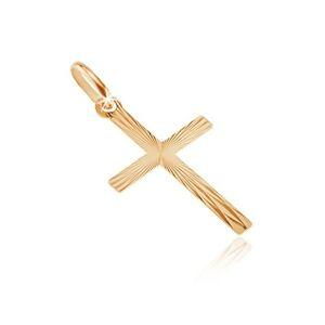 Zlatý 14K prívesok - úzke ramená s lesklými lúčmi