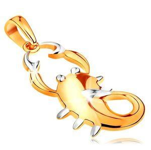 Zlatý 14K prívesok - znamenie zverokruhu ŠKORPIÓN, dvojfarebné prevedenie