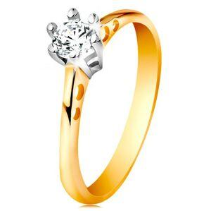 Zlatý 14K prsteň - okrúhle výrezy na ramenách, číry zirkón v kotlíku z bieleho zlata - Veľkosť: 60 mm