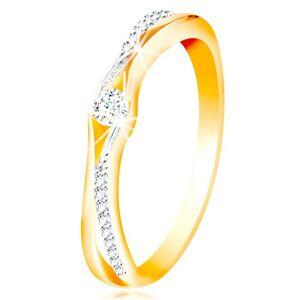 Zlatý 14K prsteň, rozdelené ramená zo žltého a bieleho zlata, číre zirkóny - Veľkosť: 51 mm