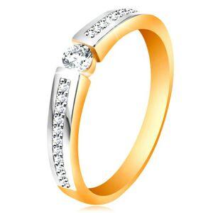 Zlatý 14K prsteň s lesklými dvojfarebnými ramenami, číre zirkóny - Veľkosť: 51 mm