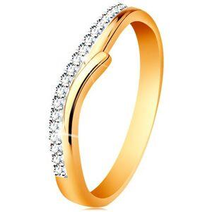 Zlatý 14K prsteň s rozdelenými dvojfarebnými ramenami, číre zirkóny - Veľkosť: 54 mm