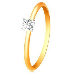 Zlatý 14K prsteň - úzke vypuklé ramená, zirkón v kotlíku z bieleho zlata - Veľkosť: 53 mm