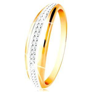 Zlatý 14K prsteň - vypuklý pás s líniou bieleho zlata a čírych zirkónov - Veľkosť: 54 mm