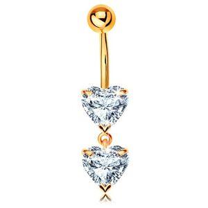 Zlatý 375 piercing do pupka - dve trblietavé srdiečka z čírych zirkónov