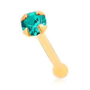 Zlatý 585 piercing do nosa, rovný - ligotavý zirkónik akvamarínovej farby, 1,5 mm