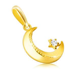 Zlatý 9K prívesok - mesiac so skosenými hranami, vrúbkovanie, drobný okrúhly zirkón