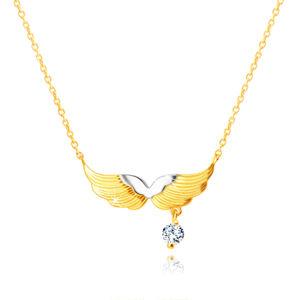 Zlatý kombinovaný náhrdelník 585 - anjelské krídla, okrúhly zirkónik čírej farby