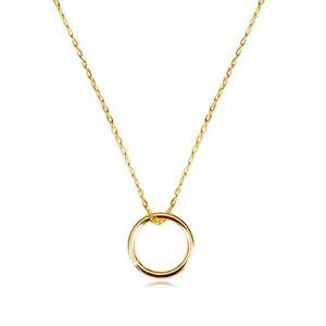 Zlatý náhrdelník 375 - jemná retiazka s príveskom, hladký lesklý krúžok