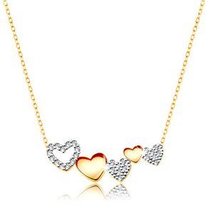 Zlatý náhrdelník 375 - línia srdiečok, zirkóny čírej farby, jemná retiazka