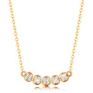 Zlatý náhrdelník 585 - jemná retiazka, oblúk z piatich ligotavých koliesok