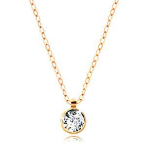 Zlatý náhrdelník 585 - okrúhly číry zirkón, lesklá retiazka z oválnych očiek