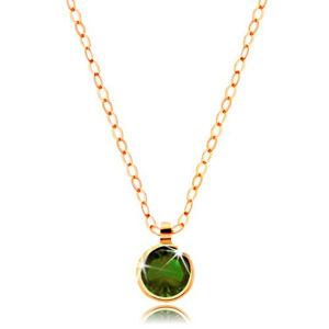 Zlatý náhrdelník 585 - okrúhly olivovo zelený zirkón, lesklá retiazka z oválnych očiek