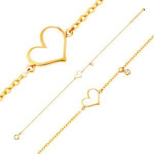 Zlatý náramok 585 - biele asymetrické srdce a číry zirkónik, tenká retiazka
