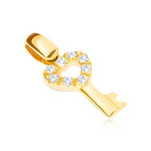 Zlatý prívesok 14K - kľúčik so srdcovou zirkónovou hlavičkou