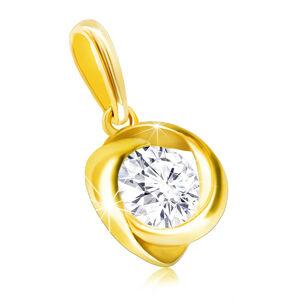 Zlatý prívesok 375 - číry zirkón vo zvlnenej hladkej línii