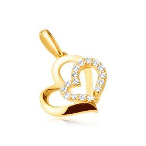 Zlatý prívesok 375 - dve asymetrické kontúry srdiečok, kamienky