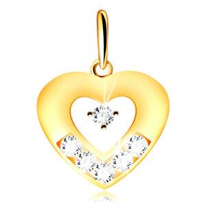 Zlatý prívesok 375 - obrys plochého srdca s výrezom, zirkóniky čírej farby