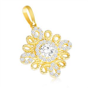 Zlatý prívesok 375 - špirálovitá kontúra v podobe kvetu, číry zirkón v strede
