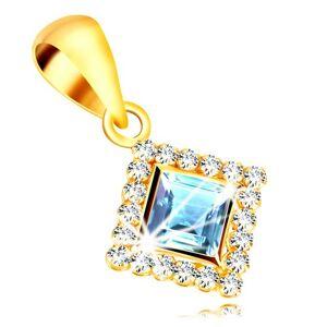 Zlatý prívesok 375 - štvorcový zirkón svetlomodrej farby lemovaný čírymi zirkónmi