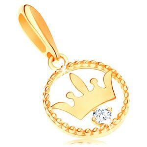Zlatý prívesok 585 - lesklá korunka vo vrúbkovanej obruči, číry zirkón