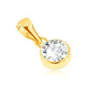 Zlatý prívesok 585 - lesklá okrúhla objímka, číry ligotavý kamienok